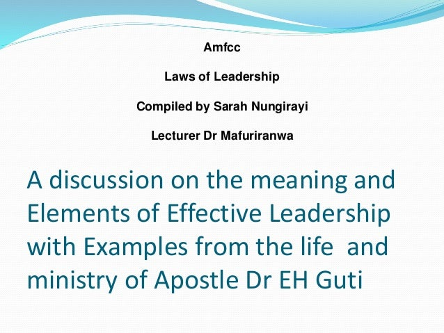 a discussion on leadership Approach to analyze the effect of toxic leadership on the elements of organizational culture: values, norms, and  ―every discussion of leadership.