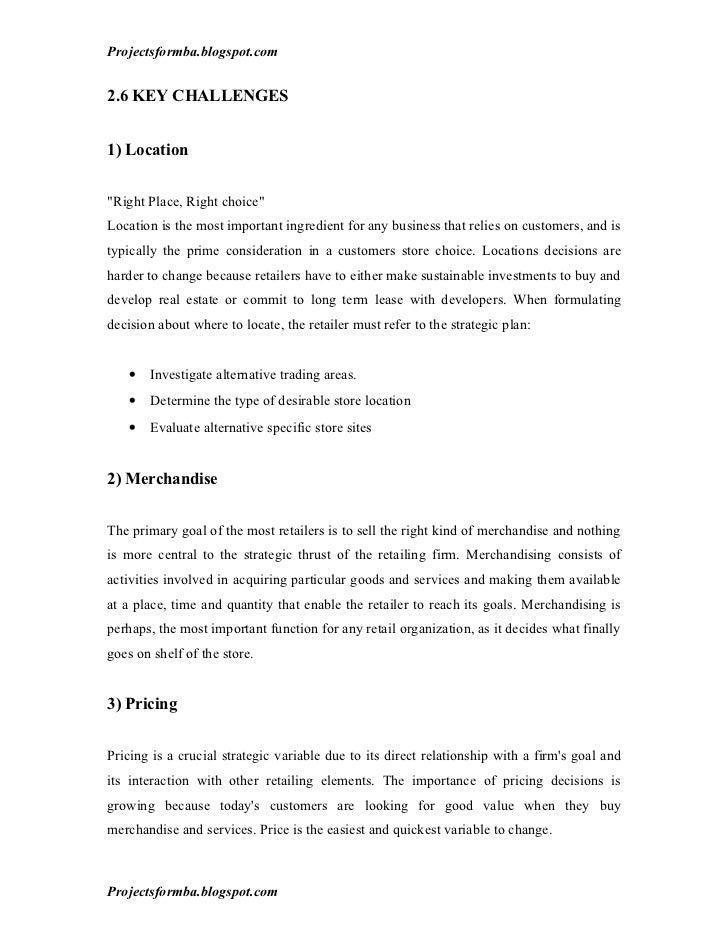 Dissertation reports retail