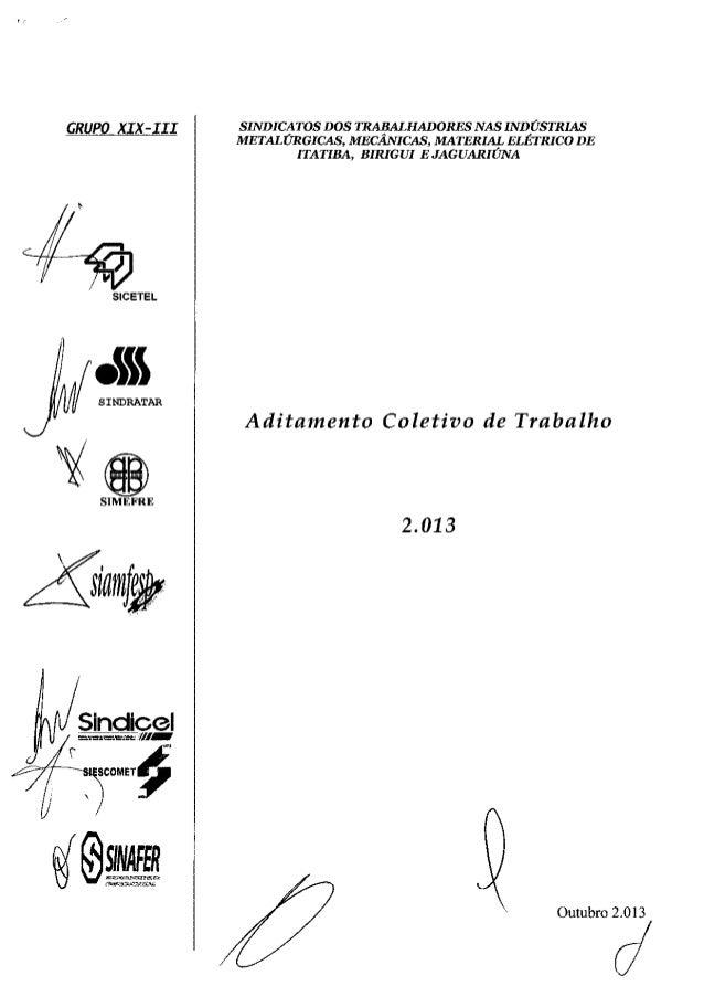 Aditamento Coletivo 2013 - Grupo XIX-III com a CGTB