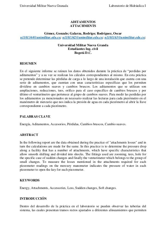 Universidad Militar Nueva Granada  Laboratorio de Hidráulica I  ADITAMENTOS ATTACHMENTS Gómez, Gonzalo; Galarza, Rodrigo; ...
