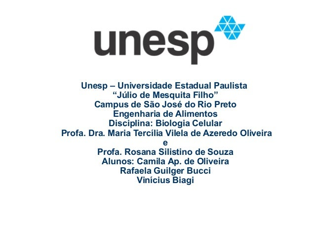"""Unesp – Universidade Estadual Paulista """"Júlio de Mesquita Filho"""" Campus de São José do Rio Preto Engenharia de Alimentos D..."""