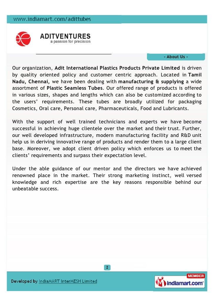 Adit International Plastics Products Private Limited, Chennai, Plastic Seamless Tube Slide 2