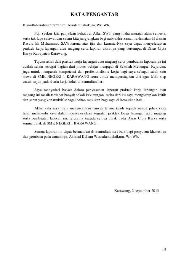 Contoh Kata Pengantar Laporan Laporan Prakerin Smkn 1 Karawang Adittya Aprillia Arganata