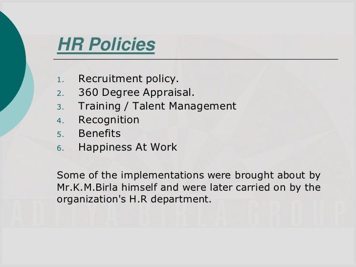 hr policies of aditya birla group ppt rh slideshare net global hr policy manual sample hr