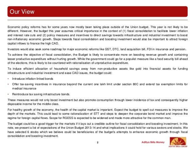 Aditya birla money union budget 2013 2014-150213 Slide 2