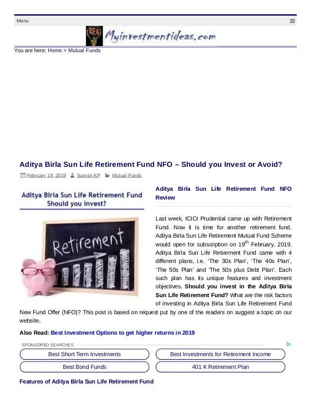Aditya birla sun life retirement mutual fund review
