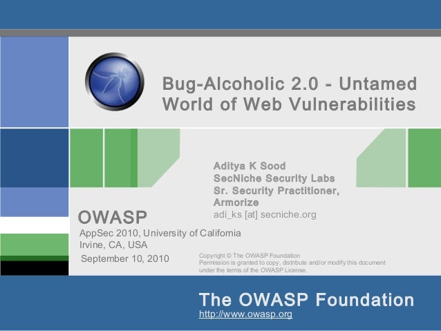 Bug-Alcoholic 2.0 - Untamed                          World of Web Vulnerabilities                                         ...