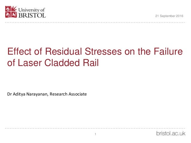 Effect of Residual Stresses on the Failure of Laser Cladded Rail Dr Aditya Narayanan, Research Associate 21 September 2016...