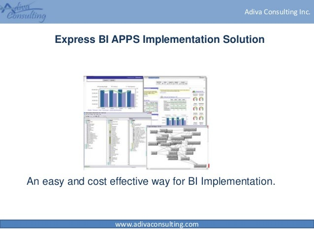 www.adivaconsulting.com Adiva Consulting Inc. Express BI APPS Implementation Solution An easy and cost effective way for B...