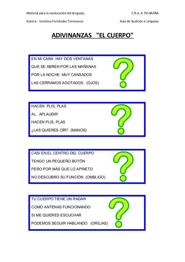 Material para la reeducación del lenguaje. C.R.A. A PICARAÑA Autora: Verónica Fernández Tornavacas Aula de Audición e Ling...