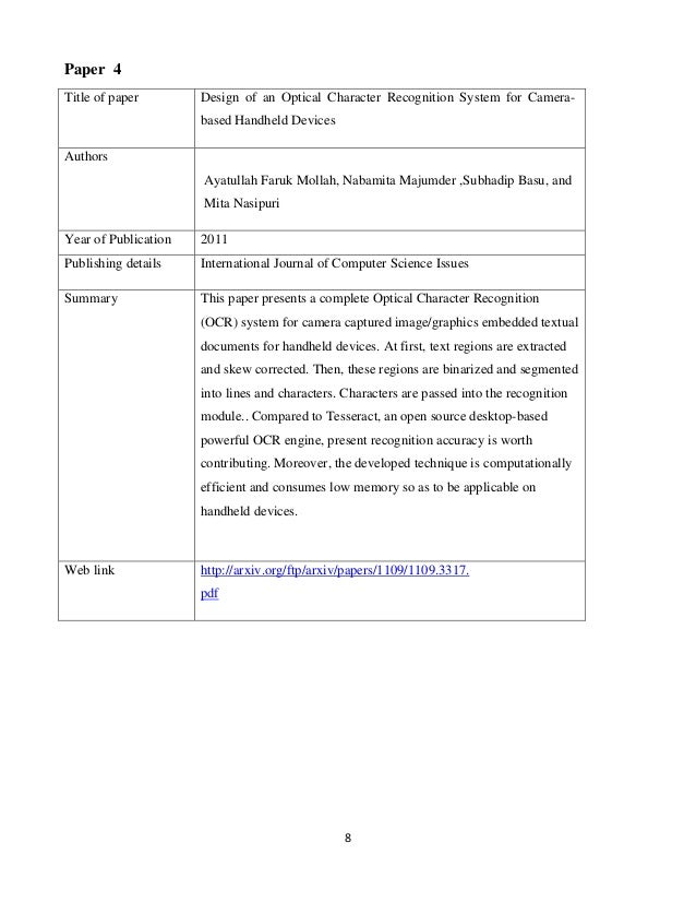 8 Paper 4 Title of paper Design of an Optical Character Recognition System for Camera- based Handheld Devices Authors Ayat...