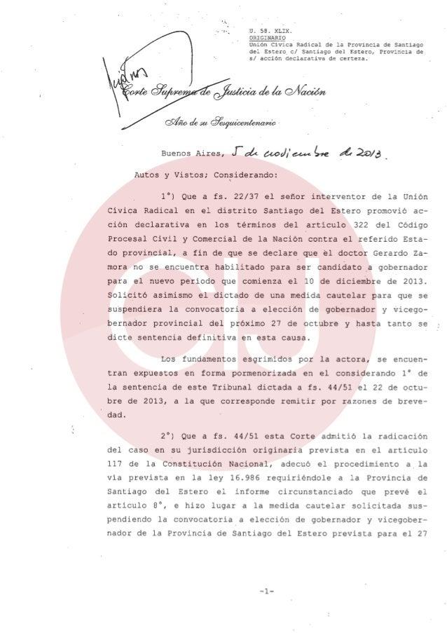 """I :~""""  .U. 58. XLIX. ORIGINARIO Unión Civica Radical de la Provincia de Santiago del Estero. el Santiago del Estero, Provi..."""