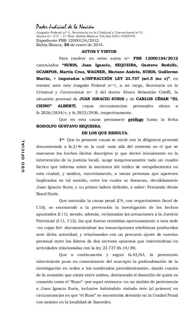 Poder Judicial de la Nación Juzgado Federal nro.1; Secretaría en lo Criminal y Correccional nro.2. Alsina nro. 317 – 1er. ...