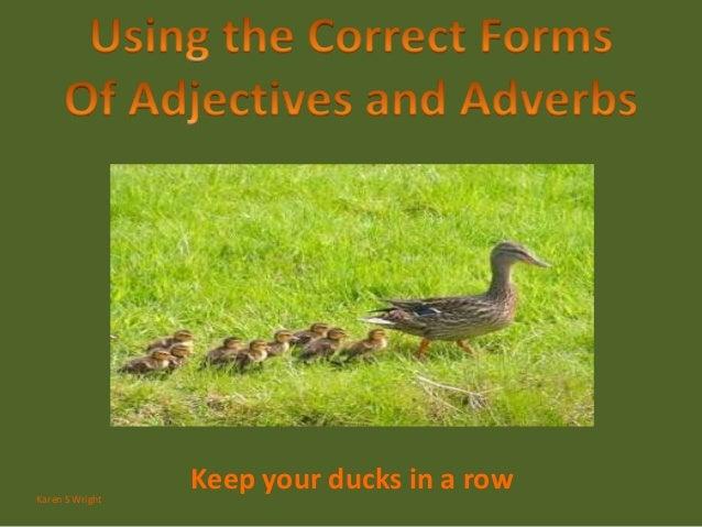Keep your ducks in a rowKaren S Wright