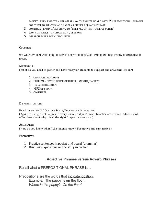Adjectiveadverbphraselessonplan – Prepositional Phrase Worksheet with Answers