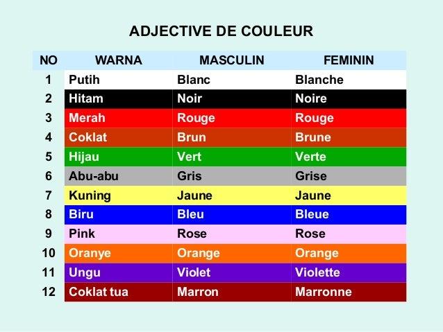 Adjective de couleur - Couleur preferee des francais ...