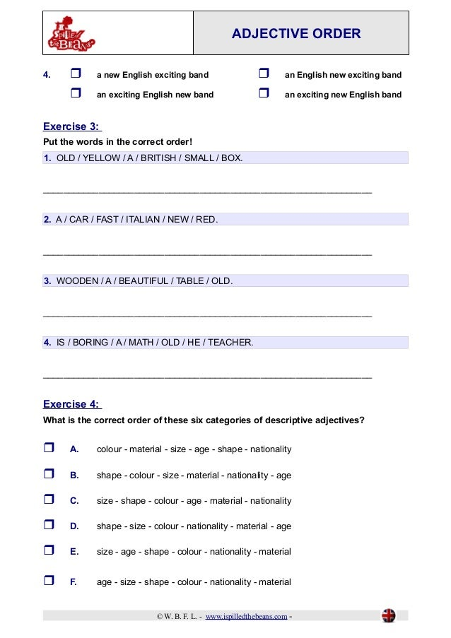 Adjective order – Ordering Adjectives Worksheet