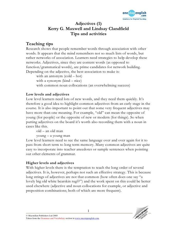 Adjectives (1)                      Kerry G. Maxwell and Lindsay Clandfield                                Tips and activi...