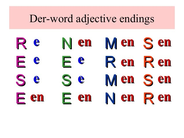 German Grammer Adjectives ( Traum Academy Kadavanthra) 9745539266 Slide 2