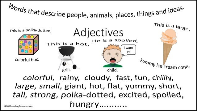 Adjectives Words That Describe People Animals Places Things And