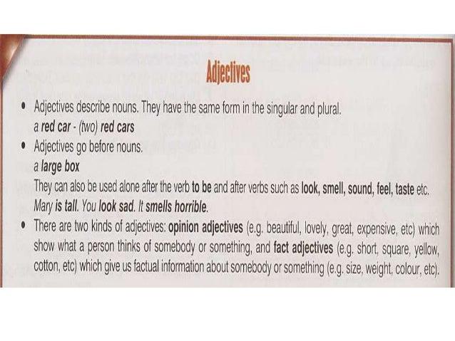 Adjectives comparisons