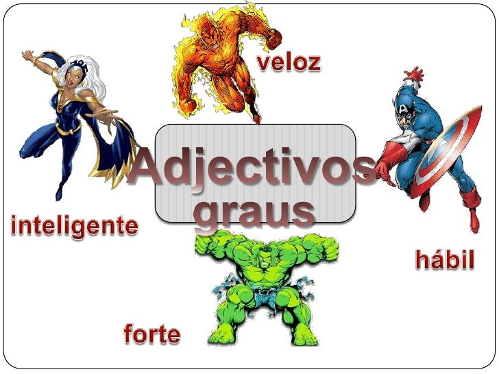 veloz<br />Adjectivos<br />graus<br />inteligente<br />hábil<br />forte<br />