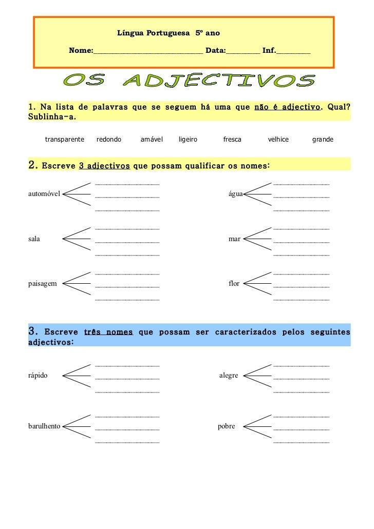 Língua Portuguesa 5º ano              Nome:_____________________________ Data:_________ Inf._________1. Na lista de palavr...