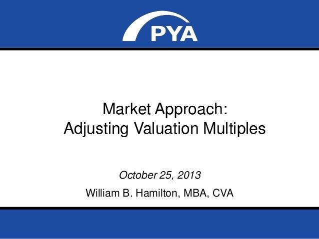 Market Approach: Adjusting Valuation Multiples October 25, 2013  William B. Hamilton, MBA, CVA NACVA Georgia State Chapter...