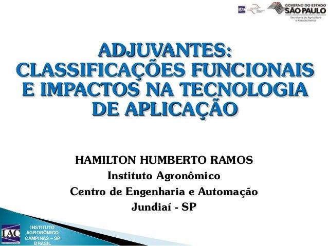 ADJUVANTES: CLASSIFICAÇÕES FUNCIONAIS E IMPACTOS NA TECNOLOGIA DE APLICAÇÃO HAMILTON HUMBERTO RAMOS Instituto Agronômico C...