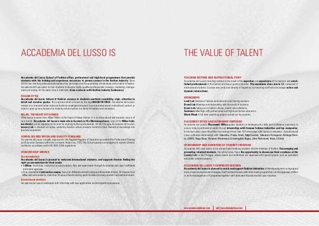 Accademia Del Lusso School Of Fashion Brochure