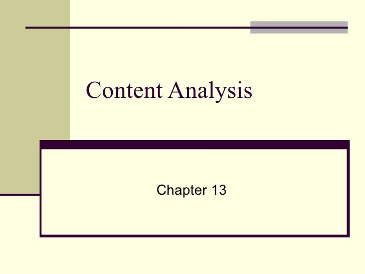 Content Analysis Chapter 13
