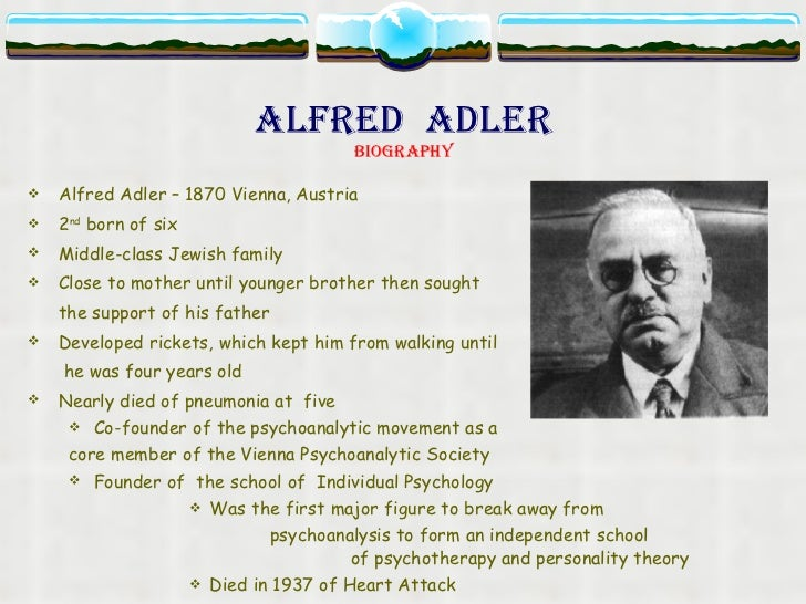 alfred adler essay 5 Alfred adler's contribution to the field of psychology can be summarized through his development of the concept of social interest and the formation of the society for individual psychology.