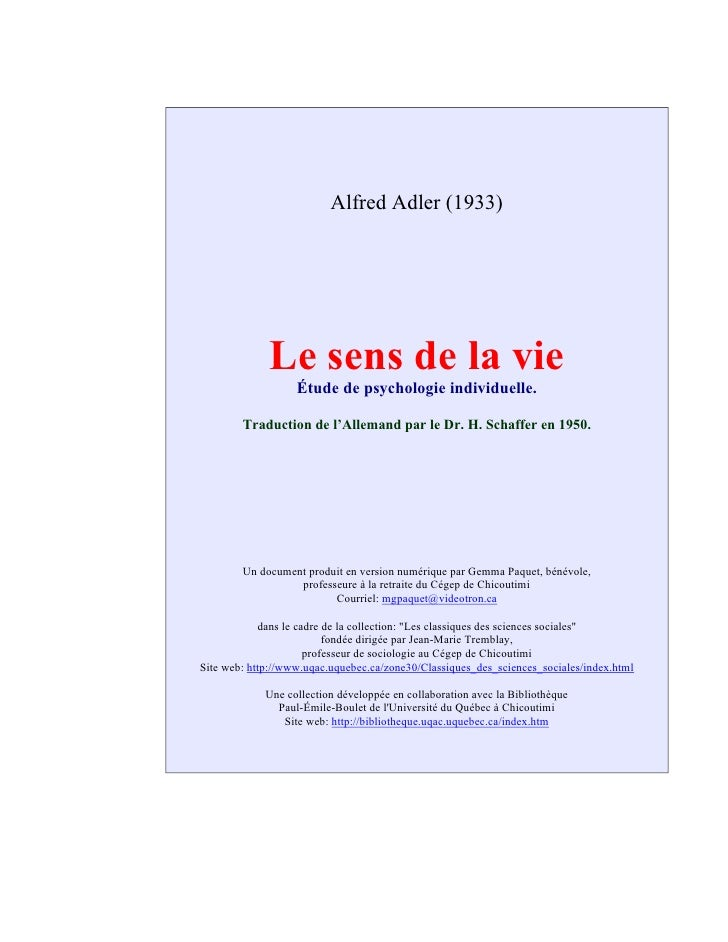 Alfred Adler (1933)                  Le sens de la vie                    Étude de psychologie individuelle.          Trad...