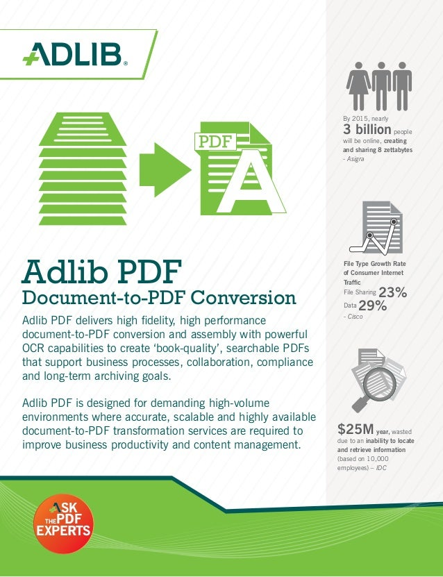 Adlib PDF Document-to-PDF Conversion By 2015, nearly 3 billionpeople will be online, creating and sharing 8 zettabytes - A...