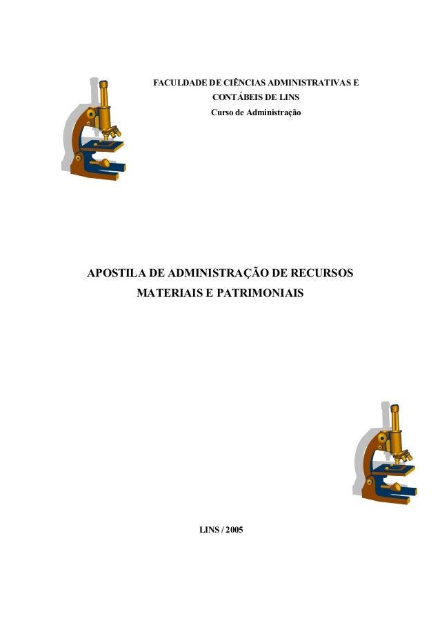 FACULDADE DE CIÊNCIAS ADMINISTRATIVAS ECONTÁBEIS DE LINSCurso de AdministraçãoAPOSTILA DE ADMINISTRAÇÃO DE RECURSOSMATERIA...