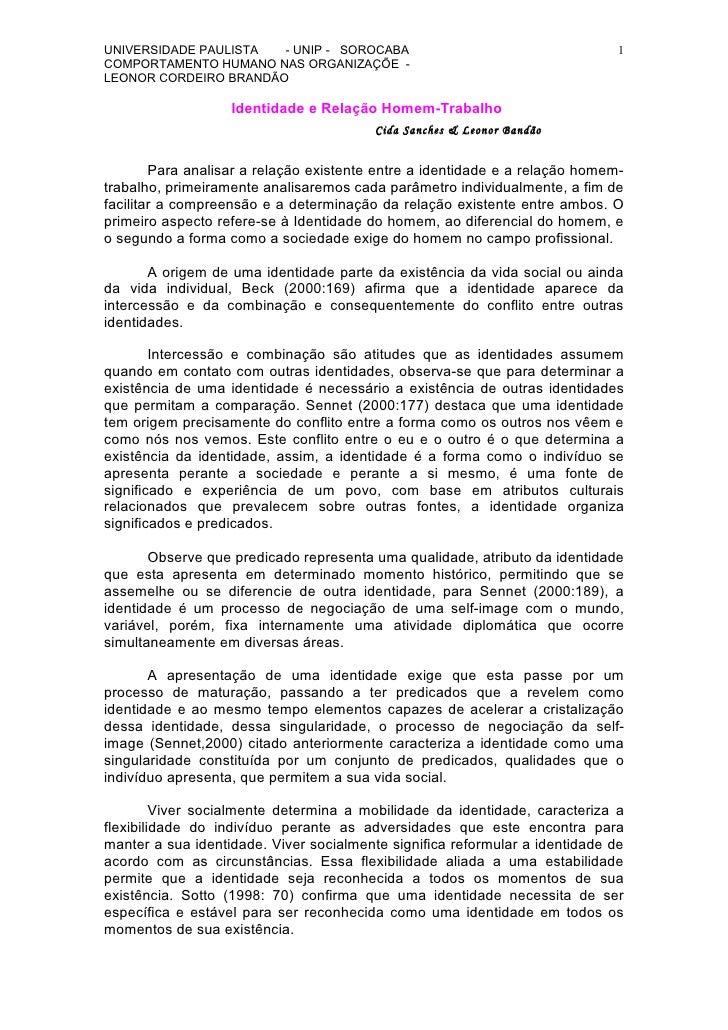 UNIVERSIDADE PAULISTA  - UNIP - SOROCABA                                      1 COMPORTAMENTO HUMANO NAS ORGANIZAÇÕE - LEO...