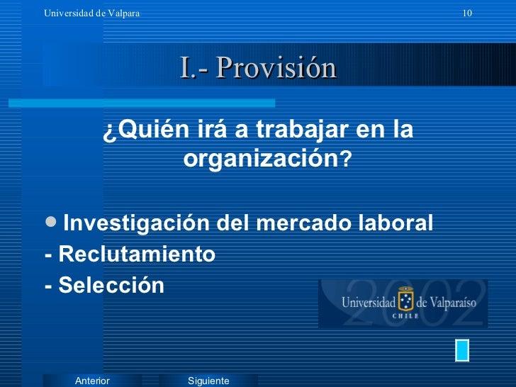 I.- Provisión <ul><li>¿Quién irá a trabajar en la organización ? </li></ul><ul><li>Investigación del mercado laboral </li>...