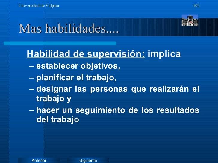 Mas habilidades.... <ul><li>Habilidad de supervisión:  implica  </li></ul><ul><ul><li>establecer objetivos, </li></ul></ul...
