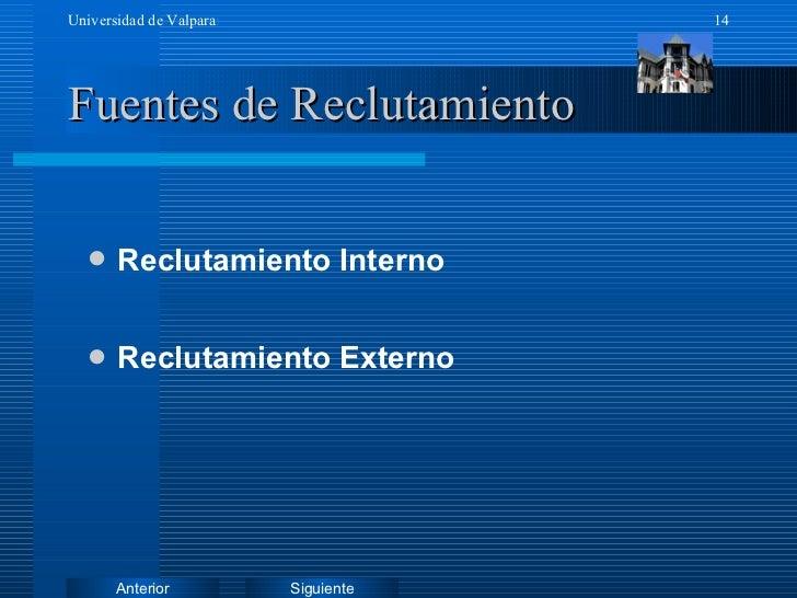 Fuentes de Reclutamiento <ul><li>Reclutamiento Interno </li></ul><ul><li>Reclutamiento Externo </li></ul>