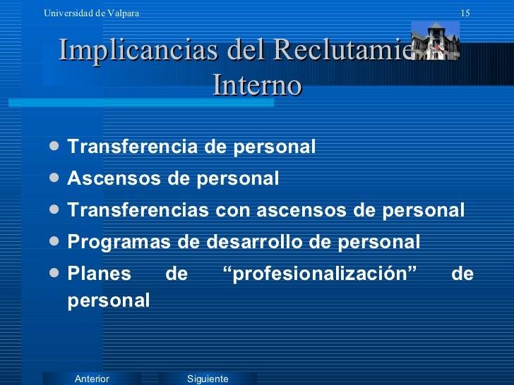 Implicancias del Reclutamiento Interno <ul><li>Transferencia de personal </li></ul><ul><li>Ascensos de personal </li></ul>...