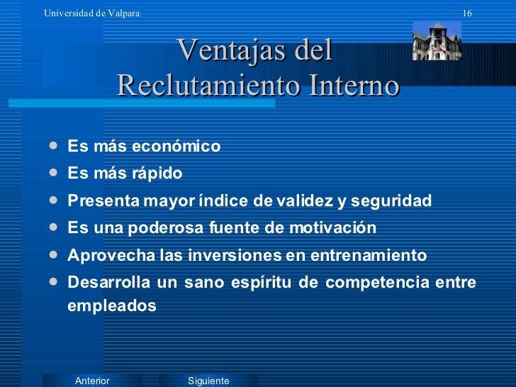 Ventajas del  Reclutamiento Interno <ul><li>Es más económico </li></ul><ul><li>Es más rápido </li></ul><ul><li>Presenta ma...