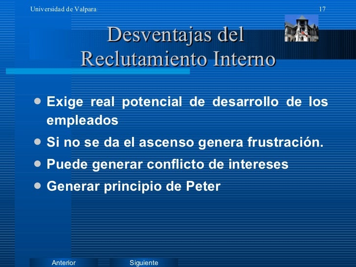 Desventajas del  Reclutamiento Interno <ul><li>Exige real potencial de desarrollo de los empleados </li></ul><ul><li>Si no...