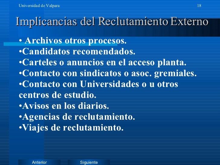Implicancias del Reclutamiento Externo <ul><li>Archivos otros procesos. </li></ul><ul><li>Candidatos recomendados. </li></...