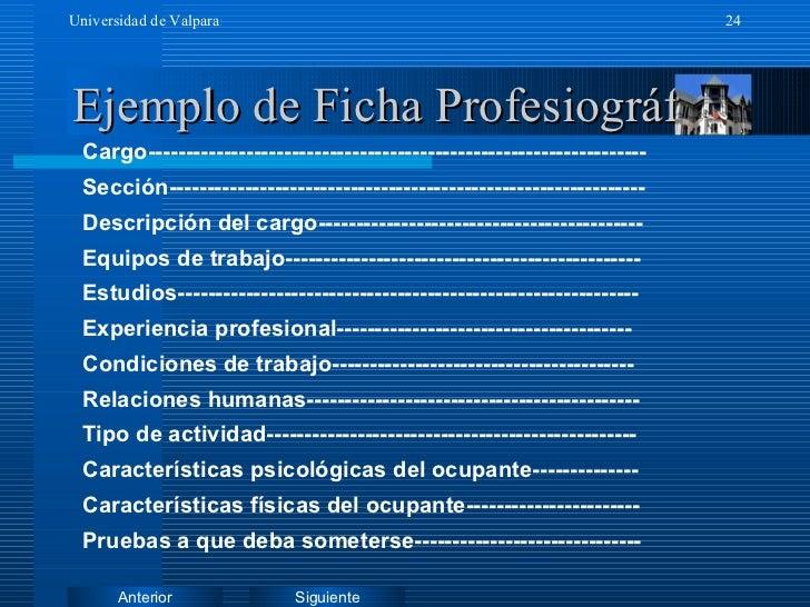 Ejemplo de Ficha Profesiográfica Cargo------------------------------------------------------------------ Sección----------...