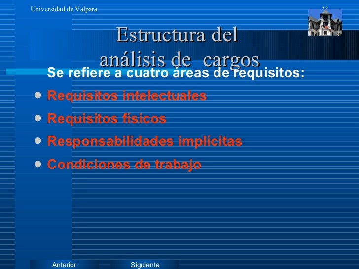 Estructura del  análisis de  cargos <ul><li>Se refiere a cuatro áreas de requisitos: </li></ul><ul><li>Requisitos intelect...