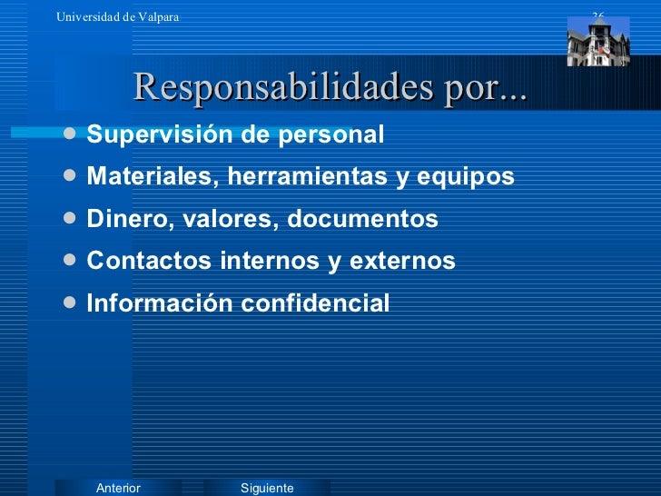 Responsabilidades por... <ul><li>Supervisión de personal </li></ul><ul><li>Materiales, herramientas y equipos </li></ul><u...