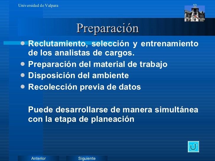Preparación <ul><li>Reclutamiento, selección y entrenamiento de los analistas de cargos. </li></ul><ul><li>Preparación del...