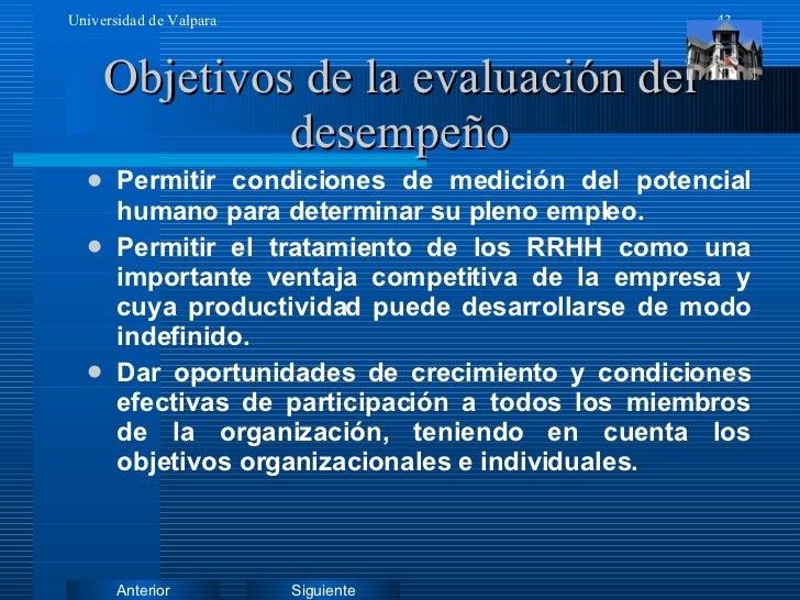 Objetivos de la evaluación del desempeño <ul><li>Permitir condiciones de medición del potencial humano para determinar su ...
