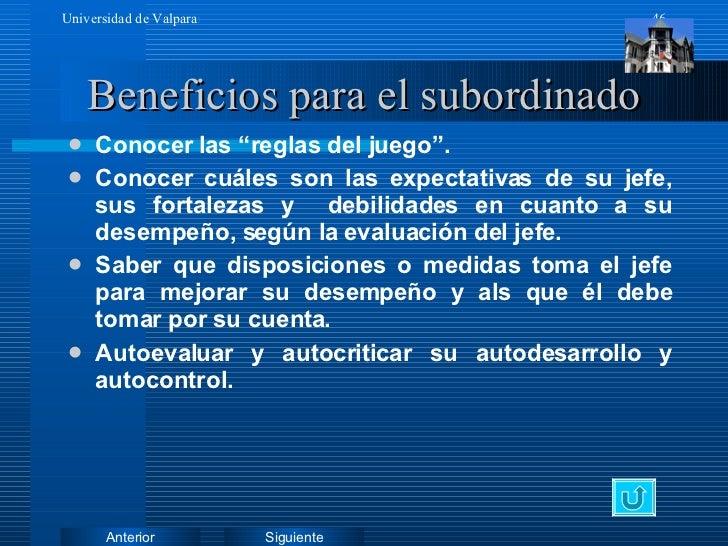 """Beneficios para el subordinado <ul><li>Conocer las """"reglas del juego"""". </li></ul><ul><li>Conocer cuáles son las expectativ..."""
