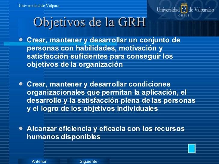 Objetivos de la GRH <ul><li>Crear, mantener y desarrollar un conjunto de personas con habilidades, motivación y satisfacci...